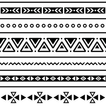 Aztec seamless, fond noir et blanc tribal