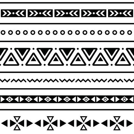 indigenous: Aztec seamless pattern, tribal black and white background