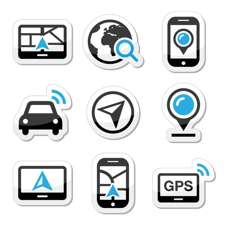 GPS, navigation travel vector icons set  Illustration