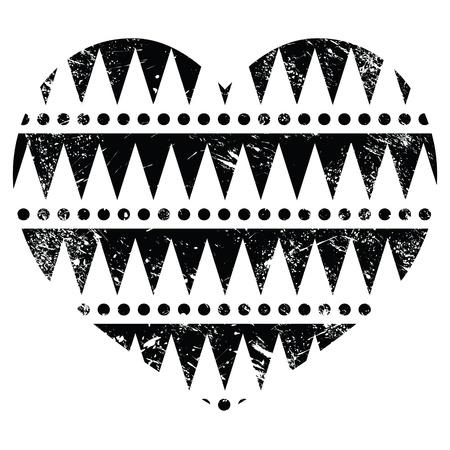 Aztec tribal pattern heart - retro, grunge style Stock Vector - 19482200