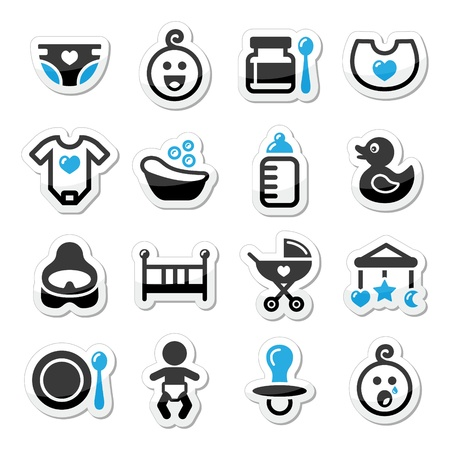 rompers: Baby , childhood vector icons set isolated on white Illustration