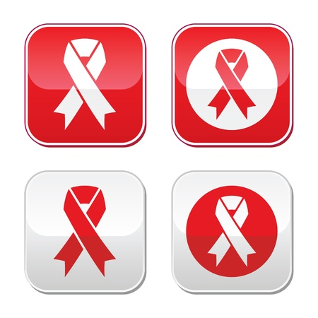 Red ribbon - AIDS, HIV, heart disease, stroke awereness sign Vector