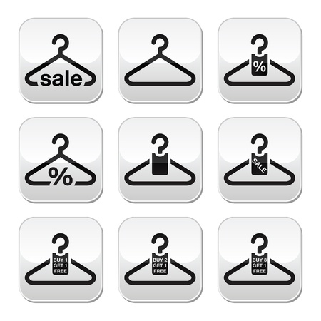 Hanger, sale, buy 1 get 1 free buttons set Vector