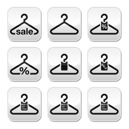 mujer en el supermercado: Percha, venta, compra 1 consigue 1 libre botones establecen Vectores