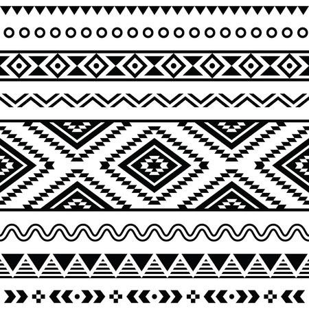 Modelo inconsútil tribal, fondo blanco y negro azteca Ilustración de vector