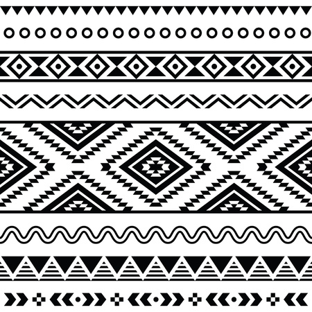 vintage styled design: Tribal seamless pattern, aztec black and white background