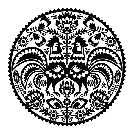polish chicken: Polish floral embroidery with roosters - monochrome traditional folk pattern