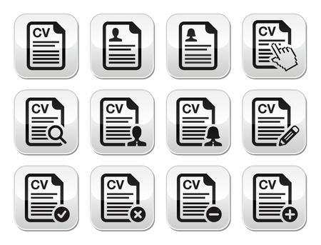 cv: CV - Curriculum vitae, curriculum pulsanti vettoriali set
