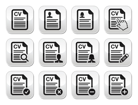 hand job: CV - Curriculum vitae, resume vector buttons set Illustration