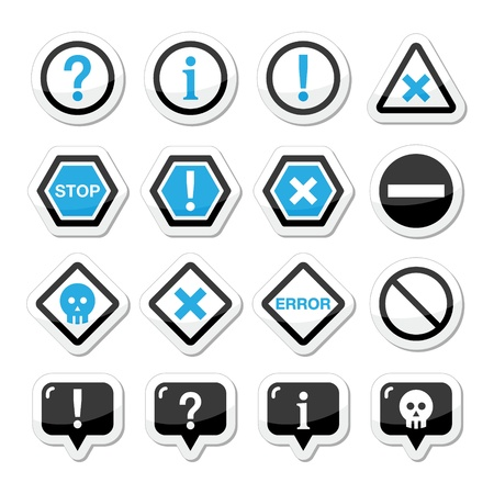 no mistake: Computer system vector icons - warning, danger, error