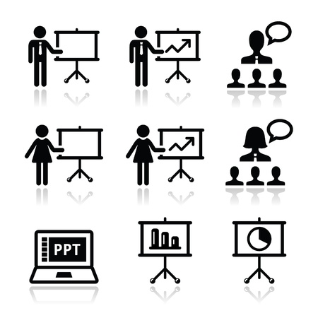 whiteboard: Business presentation, lecture, speech vector icons Illustration