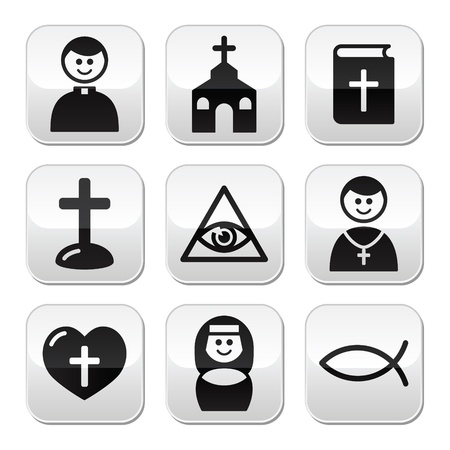 Religion, catholic church vector buttons set Vector