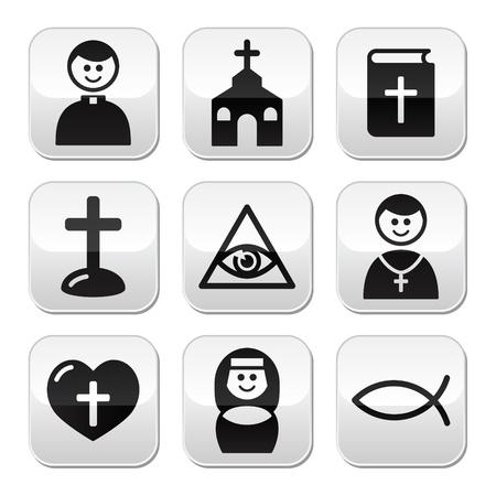 nun: Religion, catholic church vector buttons set