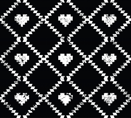 Seamless aztec tribal pattern with hearts - grunge, retro style Stock Vector - 19600692