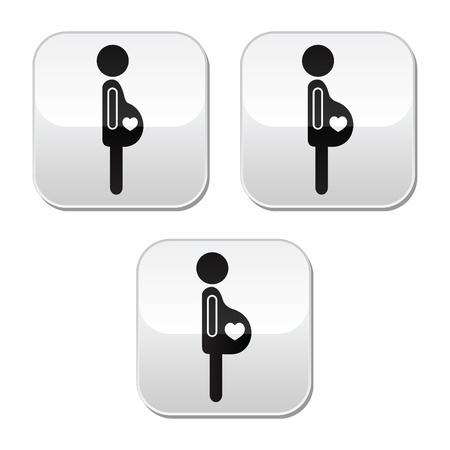 belly button: La mujer embarazada - etapas de botones pulsadores establece Vectores