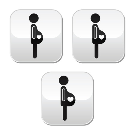 Pregnant woman - stages of bump buttons set Vector