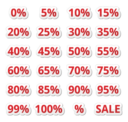 Retail sale percents   vector red icons set