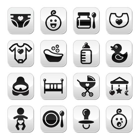 poussette: Baby, boutons de vecteur d'enfance ensemble isol� sur blanc