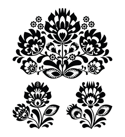 folk culture: Folk embroidery with flowers - traditional polish pattern  Illustration