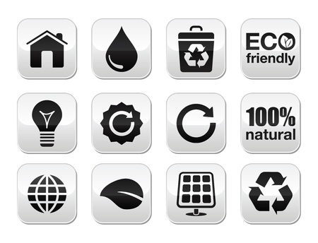 application recycle: Green ecology vector buttons set Illustration