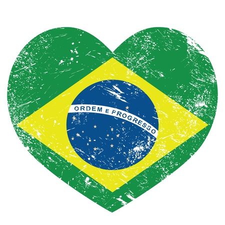 Brazil retro heart shaped flag Vector