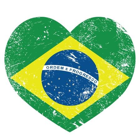 national border: Brazil retro heart shaped flag Illustration