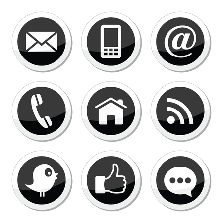 mail icon: Contact, web, blog and social media round icons Illustration