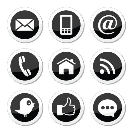 Contatto, web, blog e social media icone rotonde