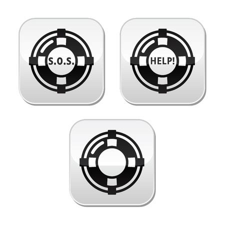 sos: Life belt, help, SOS  buttons set Illustration