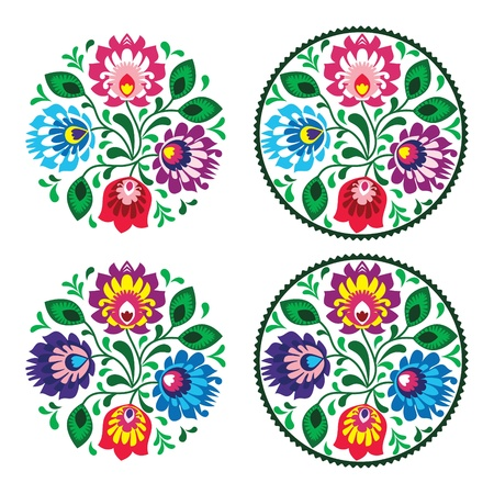 Ethnic round embroidery with flowers - traditional vintage pattern from Poland