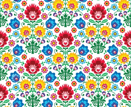 primitive art: Seamless floral polish pattern - ethnic background