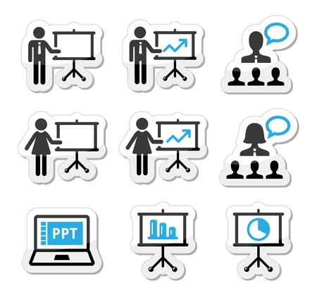 Business presentation, lecture, speech vector icons Illustration
