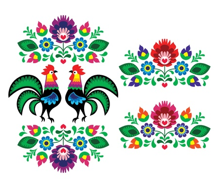 Polish ethnic floral embroidery with roosters - traditional folk pattern Vector