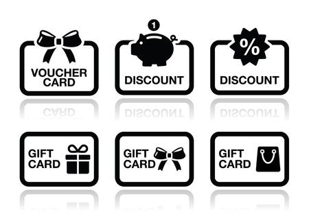 lazo regalo: Vale, regalo, de vectores iconos de tarjetas de descuento establecido Vectores