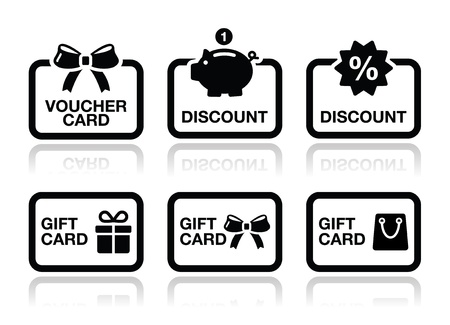 gift cart: Voucher, gift, discount card vector icons set