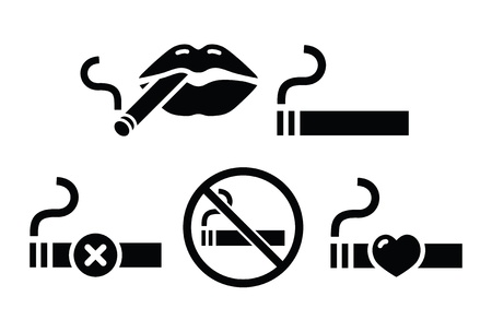 Vector icons set - smoking cigarettes, forbidden smoking sign isolated on white Vector