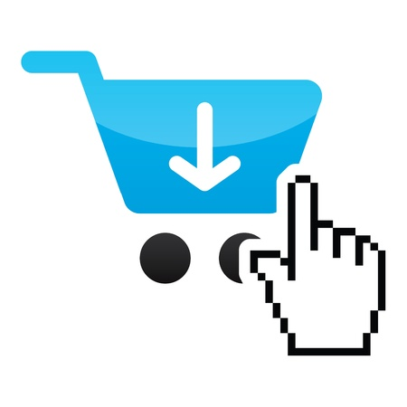 online purchase: Shopping car glossy icon with cursor hand icon Illustration