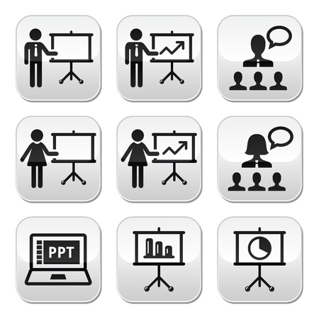 people icon set: Business presentation, lecture, speech buttons