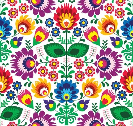 Seamless patrón tradicional polaco floral - el origen étnico Ilustración de vector