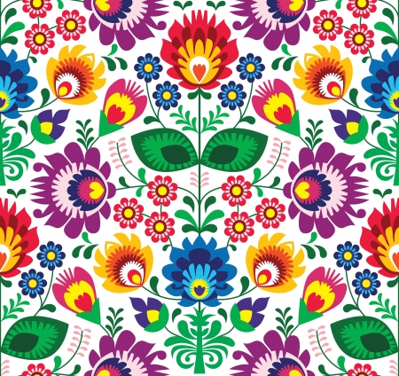 embroidery on fabric: Seamless traditional floral polish pattern - ethnic background Illustration
