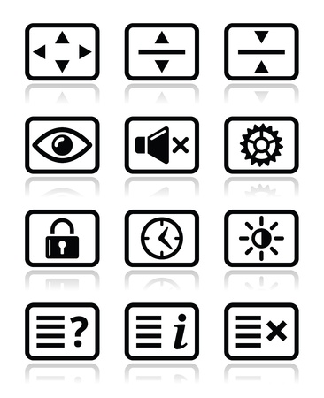 preset: Computer tv monitor screen icons set Illustration