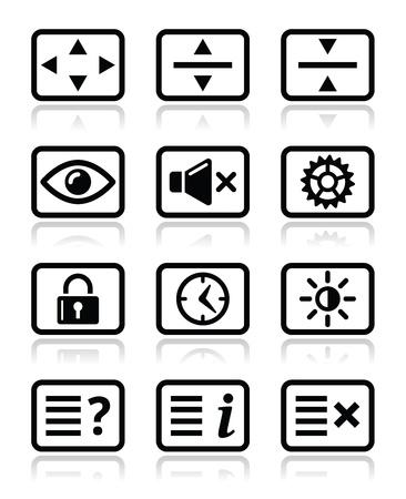 Computer tv monitor screen icons set Stock Vector - 19981099