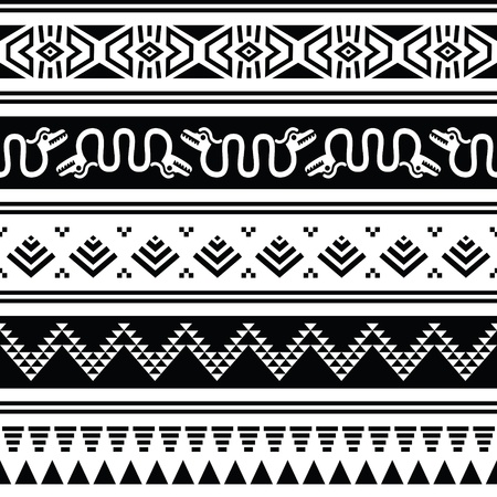 archeology: Aztec tribal seamless pattern with animals