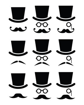 whisker characters: Bigote o bigote con sombrero y gafas de iconos conjunto