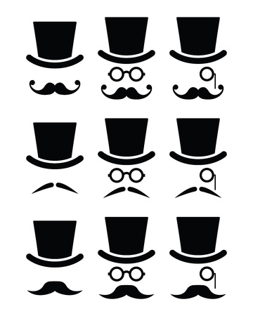 long mouth: Mustache or moustache with hat and glasses icons set