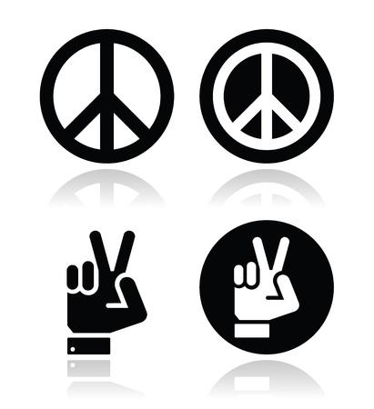 simbolo de paz: Paz, iconos gestuales mano conjunto