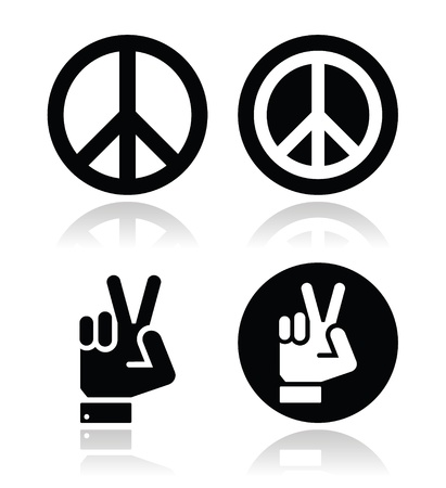 protest sign: Peace, hand gesture icons set