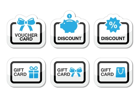promotional offer: Voucher, gift, discount card icons set