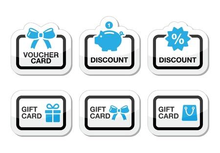 buono sconto: Voucher, regalo, icone di carte di sconto impostate