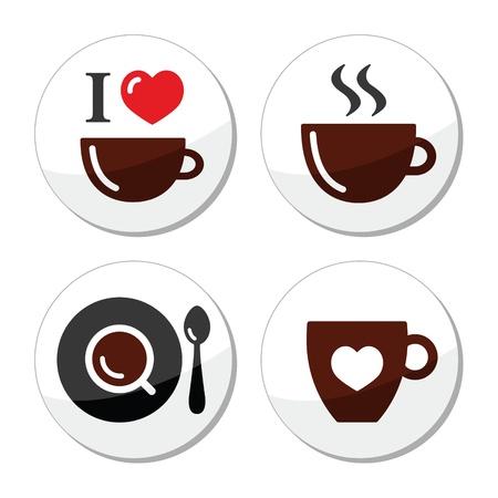 non alcohol: Amo etiquetas de caf� establecidos Vectores
